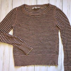 LOFT Striped Sweater Medium Orange Blue Career